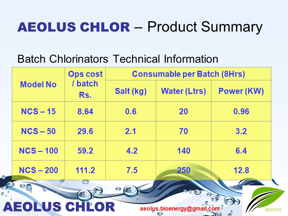 AEOLUS CHLOR aeolus.bioenergy@gmail.com AEOLUS CHLOR – Product Summary Batch Chlorinators Technical Information Model No Ops cost / batch Rs. Consumab