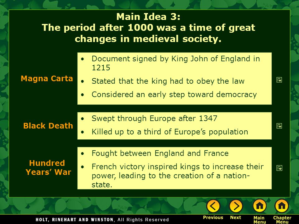 Main Idea 3: The period after 1000 was a time of great changes in medieval society. Swept through Europe after 1347 Killed up to a third of Europe's p