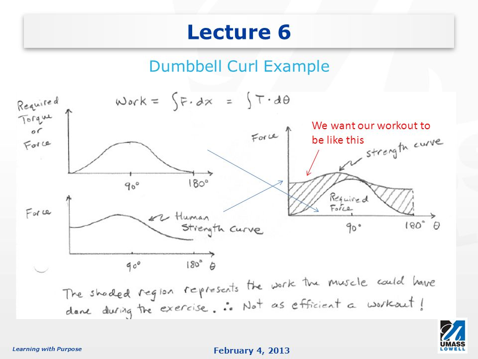 Learning with Purpose February 4, 2013 Lecture 6 Dumbbell Curl Example We want our workout to be like this