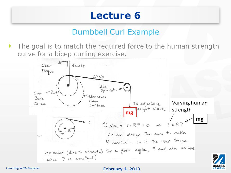 Learning with Purpose February 4, 2013 Lecture 6 Dumbbell Curl Example The goal is to match the required force to the human strength curve for a bicep curling exercise.