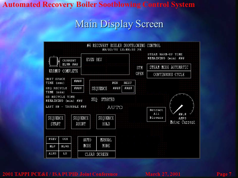 Automated Recovery Boiler Sootblowing Control System 2001 TAPPI PCE&I / ISA PUPID Joint ConferenceMarch 27, 2001Page 7 Main Display Screen