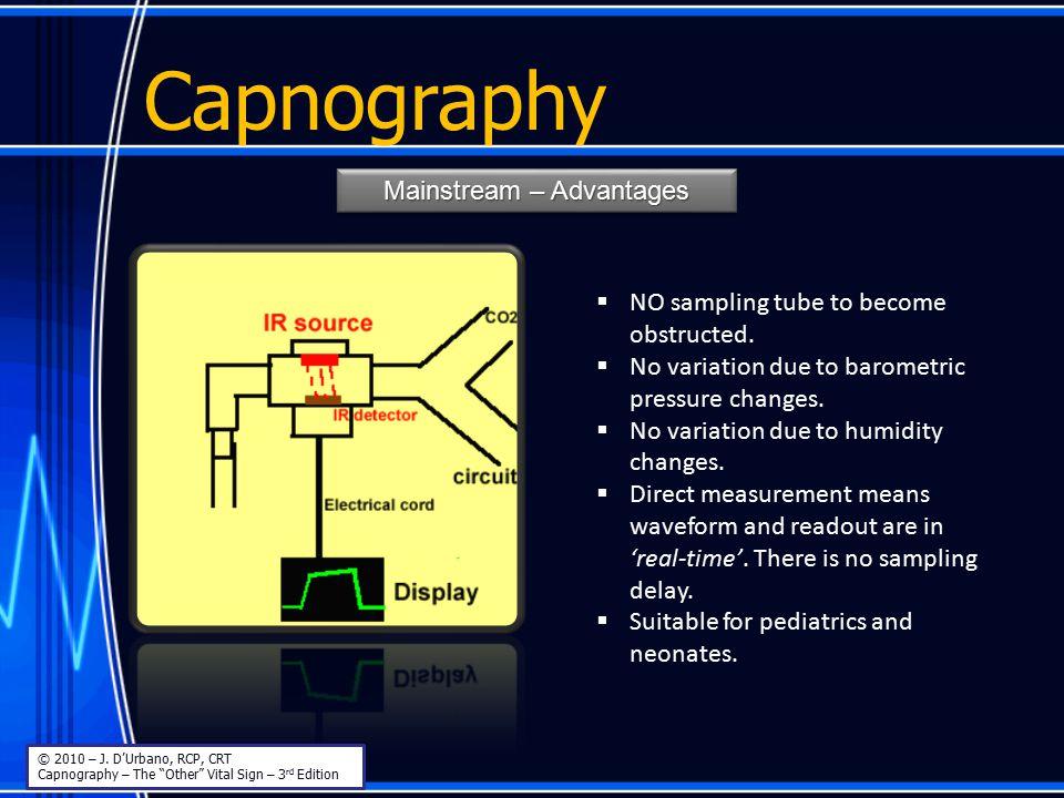 "Capnography Mainstream – Advantages MainstreamMainstream © 2010 – J. D'Urbano, RCP, CRT Capnography – The ""Other"" Vital Sign – 3 rd Edition  NO sampl"
