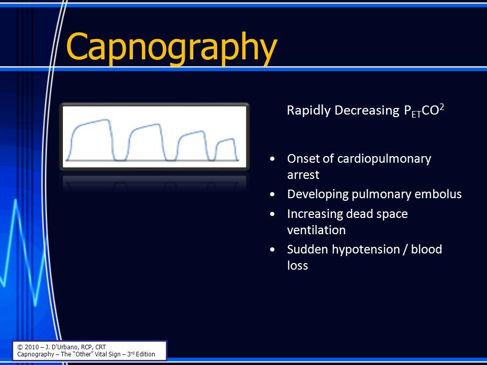 Capnography Rapidly Decreasing P ET CO 2 Onset of cardiopulmonary arrest Developing pulmonary embolus Increasing dead space ventilation Sudden hypoten
