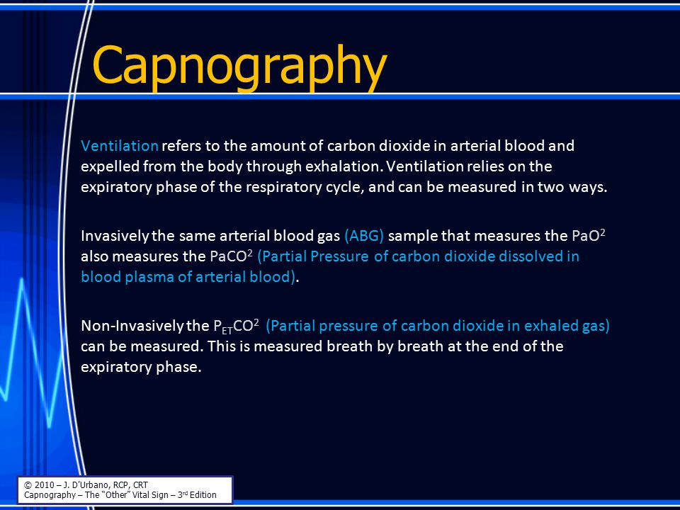Capnography Rising alveolar plateau (Notice the increased alpha-angle) Bronchospasm Mucus plugging Partial airway obstruction Partially kinked ET tube Prolonged expiratory phase © 2010 – J.