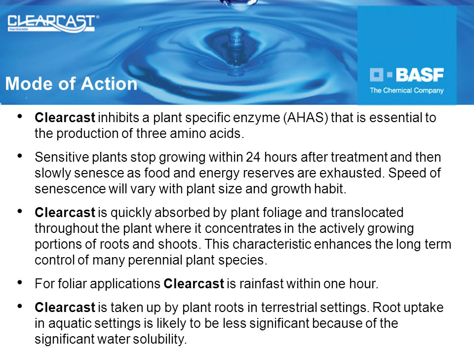 Clearcast inhibits a plant specific enzyme (AHAS) that is essential to the production of three amino acids.