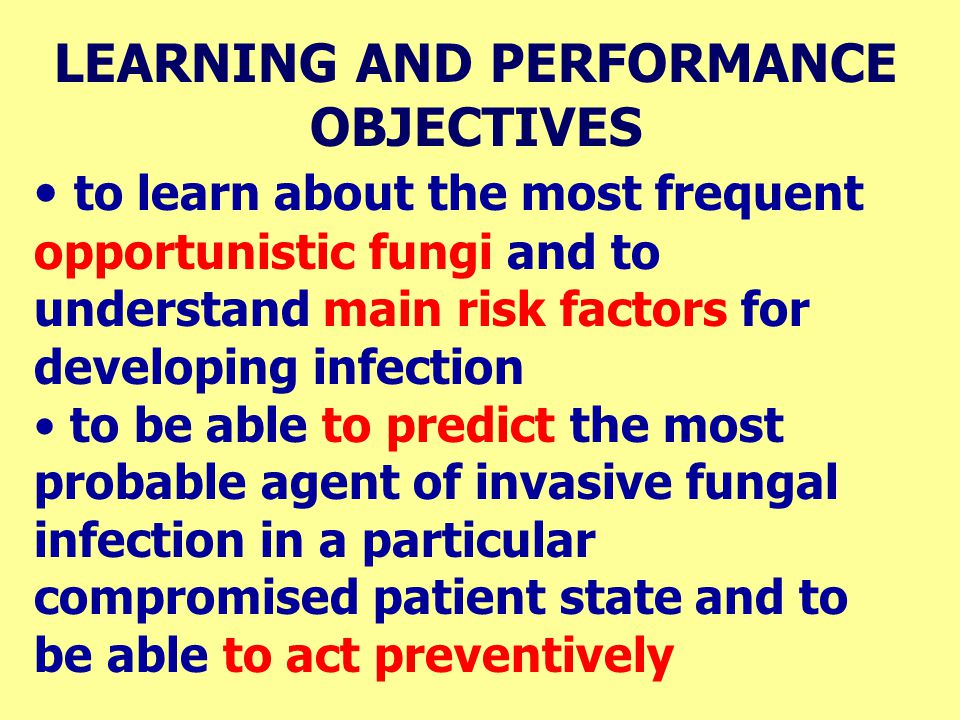 LEARNING AND PERFORMANCE OBJECTIVES to learn about the most frequent opportunistic fungi and to understand main risk factors for developing infection