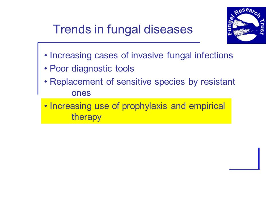 Trends in fungal diseases Increasing cases of invasive fungal infections Poor diagnostic tools Replacement of sensitive species by resistant ones Increasing use of prophylaxis and empirical therapy
