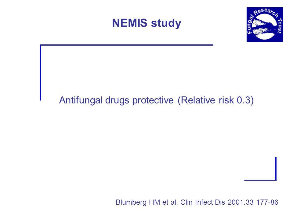 NEMIS study Antifungal drugs protective (Relative risk 0.3) Blumberg HM et al, Clin Infect Dis 2001:33 177-86