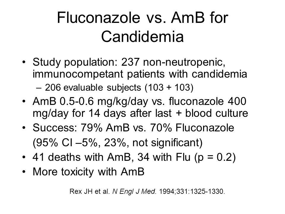 Fluconazole vs. AmB for Candidemia Study population: 237 non-neutropenic, immunocompetant patients with candidemia –206 evaluable subjects (103 + 103)