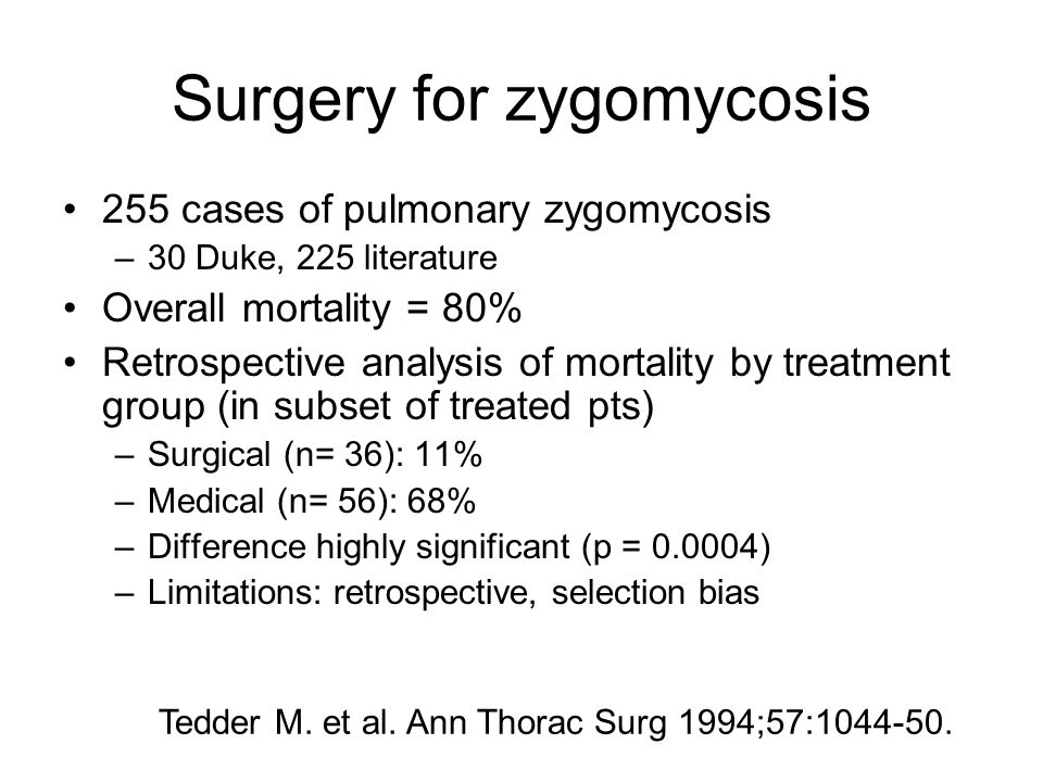 Surgery for zygomycosis 255 cases of pulmonary zygomycosis –30 Duke, 225 literature Overall mortality = 80% Retrospective analysis of mortality by tre