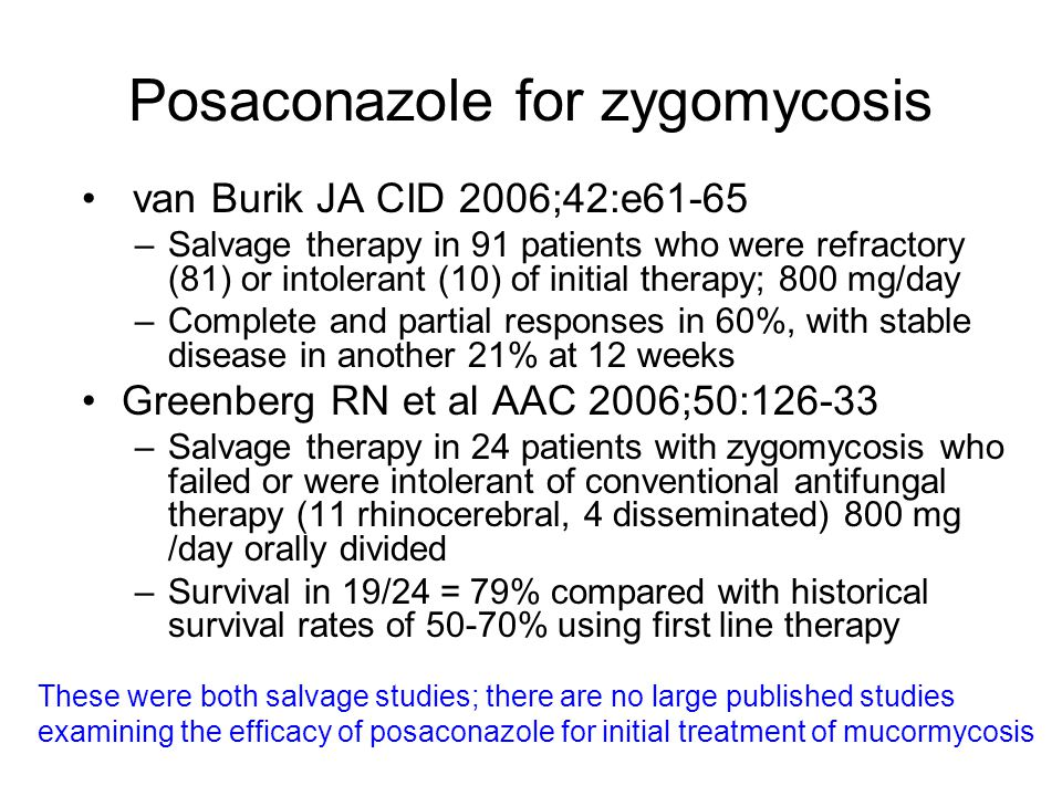 Posaconazole for zygomycosis van Burik JA CID 2006;42:e61-65 –Salvage therapy in 91 patients who were refractory (81) or intolerant (10) of initial th