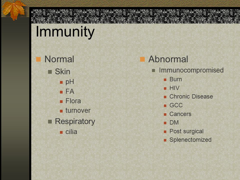 Immunity Normal Skin pH FA Flora turnover Respiratory cilia Abnormal Immunocompromised Burn HIV Chronic Disease GCC Cancers DM Post surgical Splenectomized