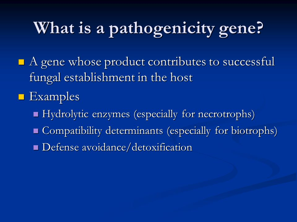 What is a pathogenicity gene? A gene whose product contributes to successful fungal establishment in the host A gene whose product contributes to succ