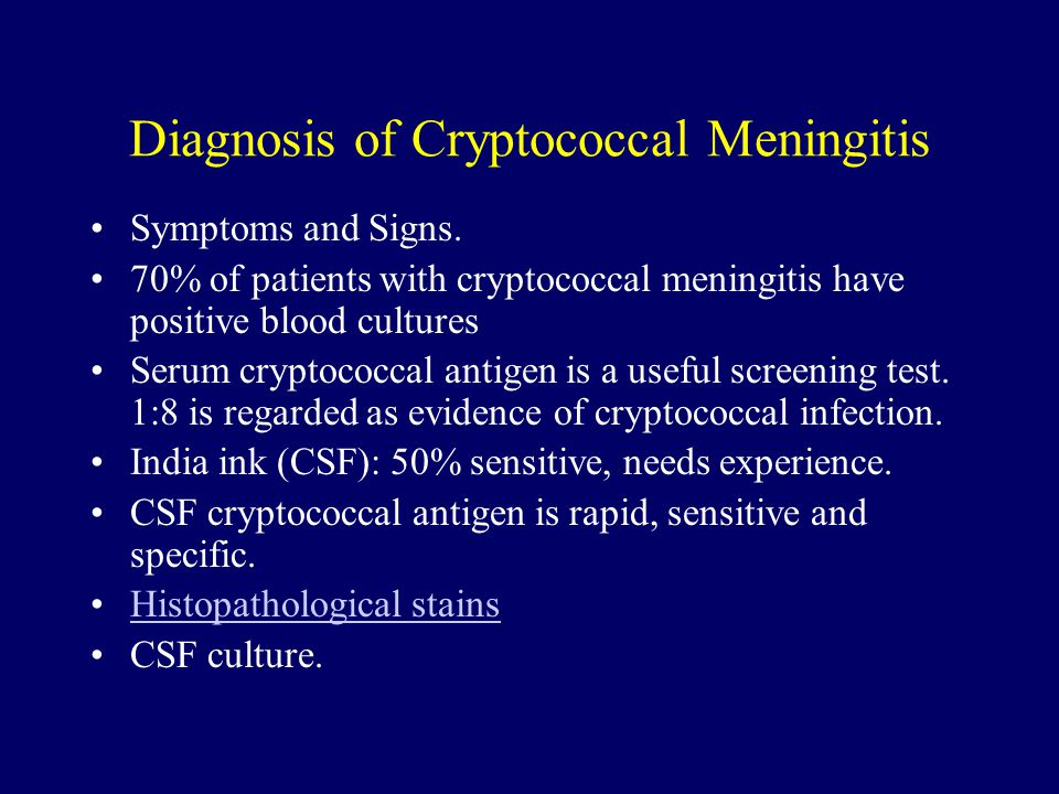 Diagnosis of Cryptococcal Meningitis Symptoms and Signs. 70% of patients with cryptococcal meningitis have positive blood cultures Serum cryptococcal