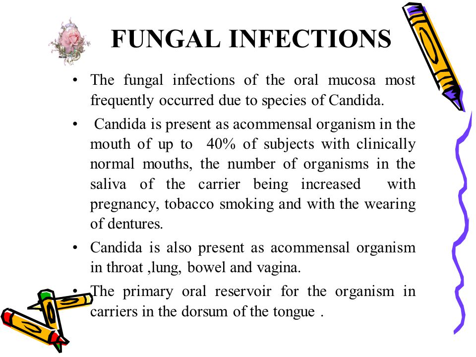 FUNGAL INFECTIONS The fungal infections of the oral mucosa most frequently occurred due to species of Candida. Candida is present as acommensal organi
