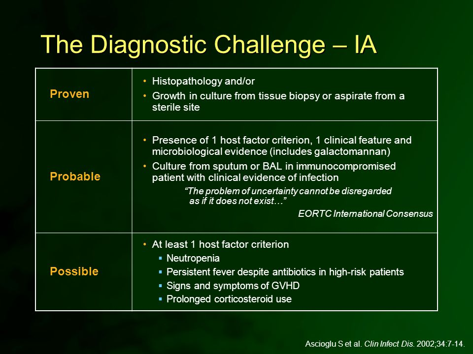 Ascioglu S et al. Clin Infect Dis. 2002;34:7-14. The Diagnostic Challenge – IA Proven Histopathology and/or Growth in culture from tissue biopsy or as