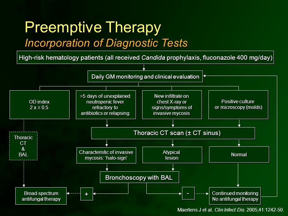 Thoracic CT scan (± CT sinus) Maertens J et al. Clin Infect Dis. 2005;41:1242-50. Incorporation of Diagnostic Tests Preemptive Therapy High-risk hemat
