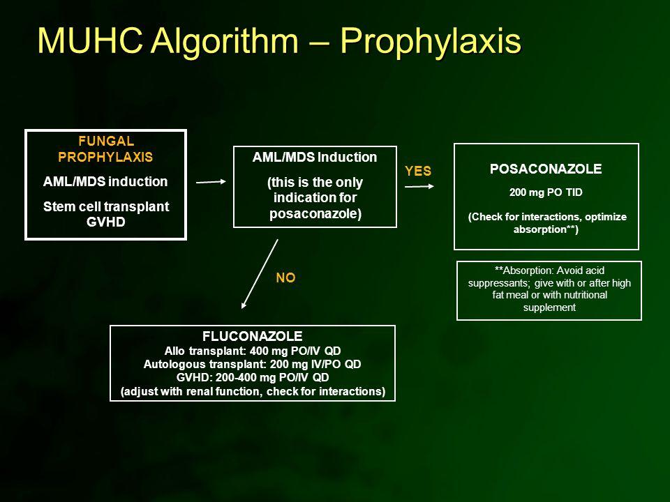 FUNGAL PROPHYLAXIS AML/MDS induction Stem cell transplant GVHD FLUCONAZOLE Allo transplant: 400 mg PO/IV QD Autologous transplant: 200 mg IV/PO QD GVH