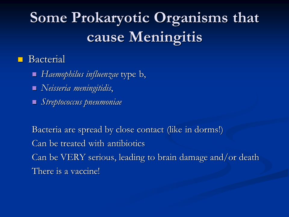 Some Prokaryotic Organisms that cause Meningitis Bacterial Bacterial Haemophilus influenzae type b, Haemophilus influenzae type b, Neisseria meningitidis, Neisseria meningitidis, Streptococcus pneumoniae Streptococcus pneumoniae Bacteria are spread by close contact (like in dorms!) Can be treated with antibiotics Can be VERY serious, leading to brain damage and/or death There is a vaccine!