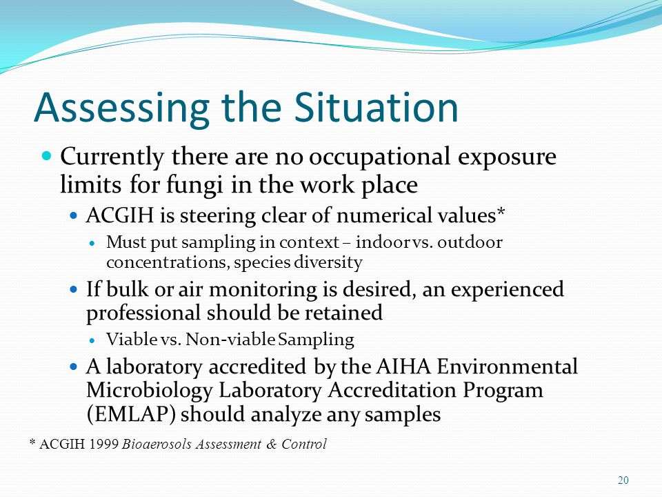 Assessing the Situation Currently there are no occupational exposure limits for fungi in the work place ACGIH is steering clear of numerical values* Must put sampling in context – indoor vs.