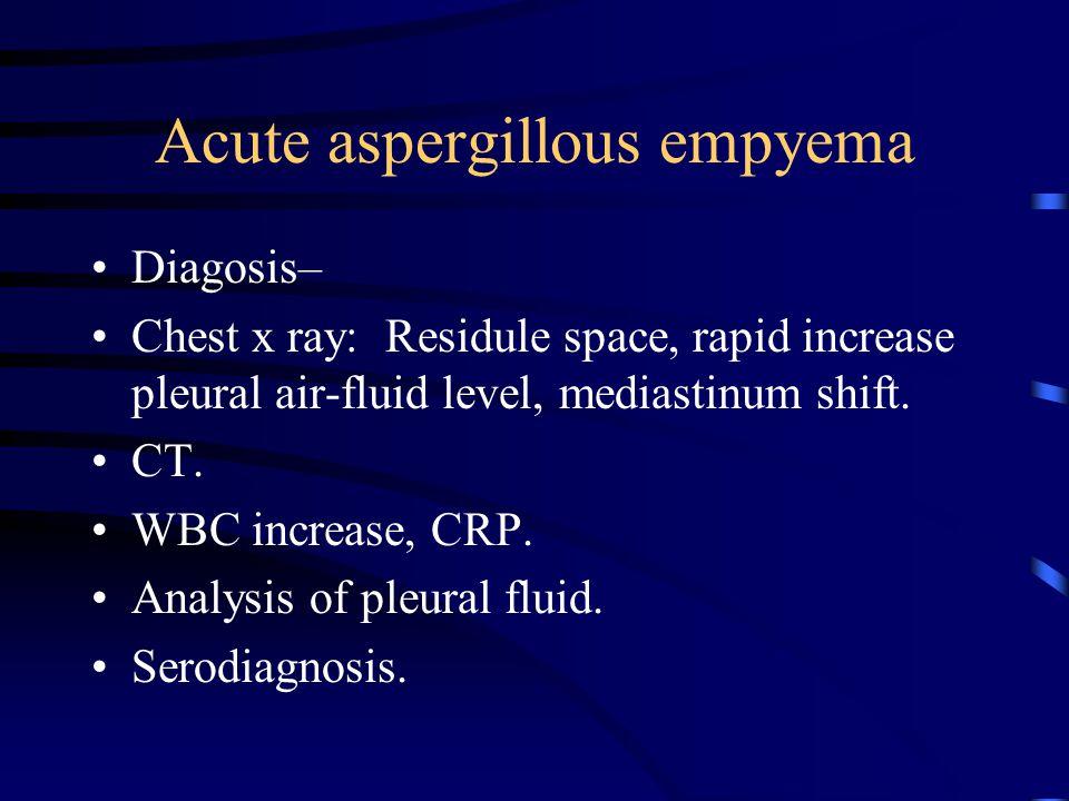 Acute aspergillous empyema Diagosis– Chest x ray: Residule space, rapid increase pleural air-fluid level, mediastinum shift. CT. WBC increase, CRP. An