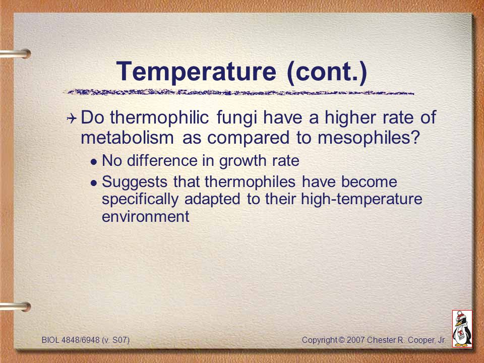 BIOL 4848/6948 (v. S07) Copyright © 2007 Chester R. Cooper, Jr. Temperature (cont.) Q Do thermophilic fungi have a higher rate of metabolism as compar