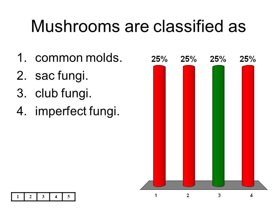 12345 Mushrooms are classified as 1.common molds. 2.sac fungi. 3.club fungi. 4.imperfect fungi.