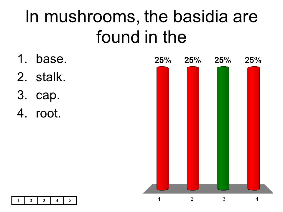12345 In mushrooms, the basidia are found in the 1.base. 2.stalk. 3.cap. 4.root.