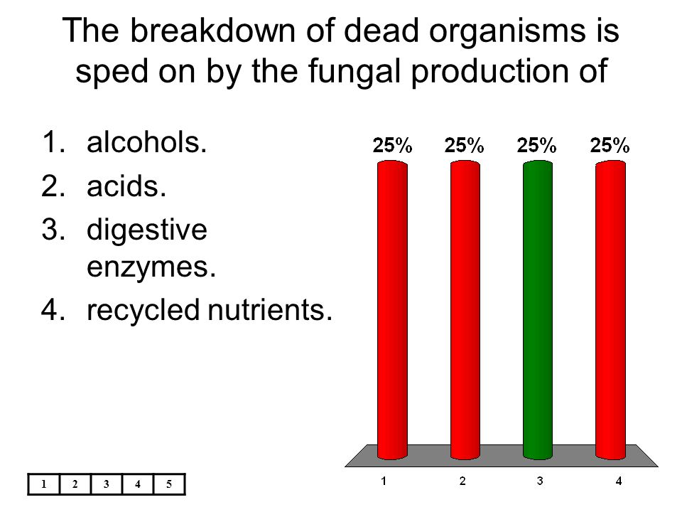 12345 The breakdown of dead organisms is sped on by the fungal production of 1.alcohols. 2.acids. 3.digestive enzymes. 4.recycled nutrients.