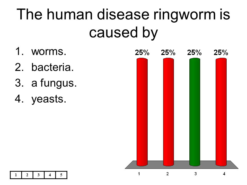 12345 The human disease ringworm is caused by 1.worms. 2.bacteria. 3.a fungus. 4.yeasts.
