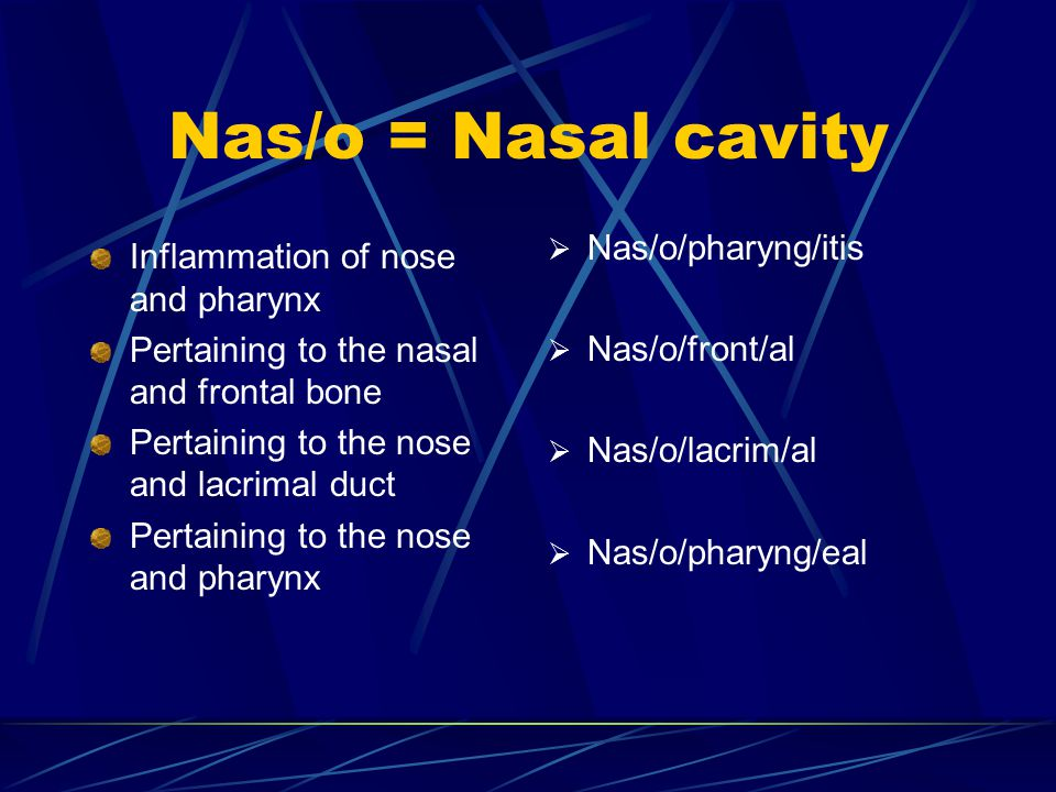 Nas/o = Nasal cavity Inflammation of nose and pharynx Pertaining to the nasal and frontal bone Pertaining to the nose and lacrimal duct Pertaining to the nose and pharynx  Nas/o/pharyng/itis  Nas/o/front/al  Nas/o/lacrim/al  Nas/o/pharyng/eal