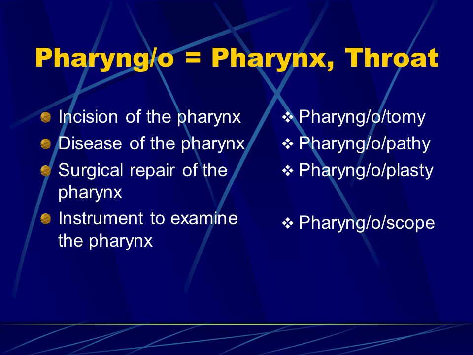 Pharyng/o = Pharynx, Throat Incision of the pharynx Disease of the pharynx Surgical repair of the pharynx Instrument to examine the pharynx  Pharyng/