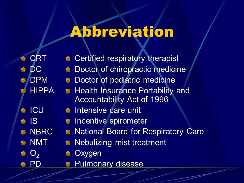 Abbreviation CRT DC DPM HIPPA ICU IS NBRC NMT O 2 PD Certified respiratory therapist Doctor of chiropractic medicine Doctor of podiatric medicine Health Insurance Portability and Accountability Act of 1996 Intensive care unit Incentive spirometer National Board for Respiratory Care Nebulizing mist treatment Oxygen Pulmonary disease