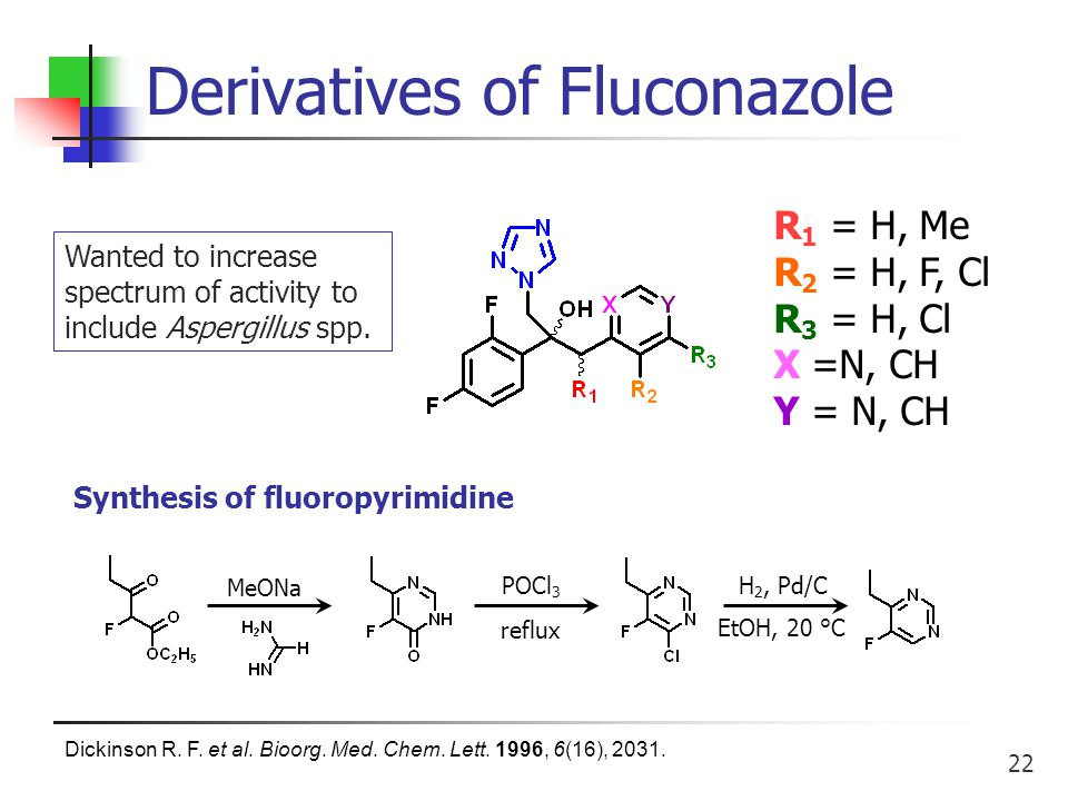 22 Derivatives of Fluconazole Wanted to increase spectrum of activity to include Aspergillus spp.