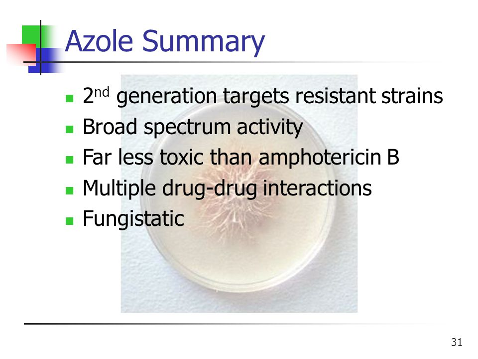 31 Azole Summary 2 nd generation targets resistant strains Broad spectrum activity Far less toxic than amphotericin B Multiple drug-drug interactions Fungistatic