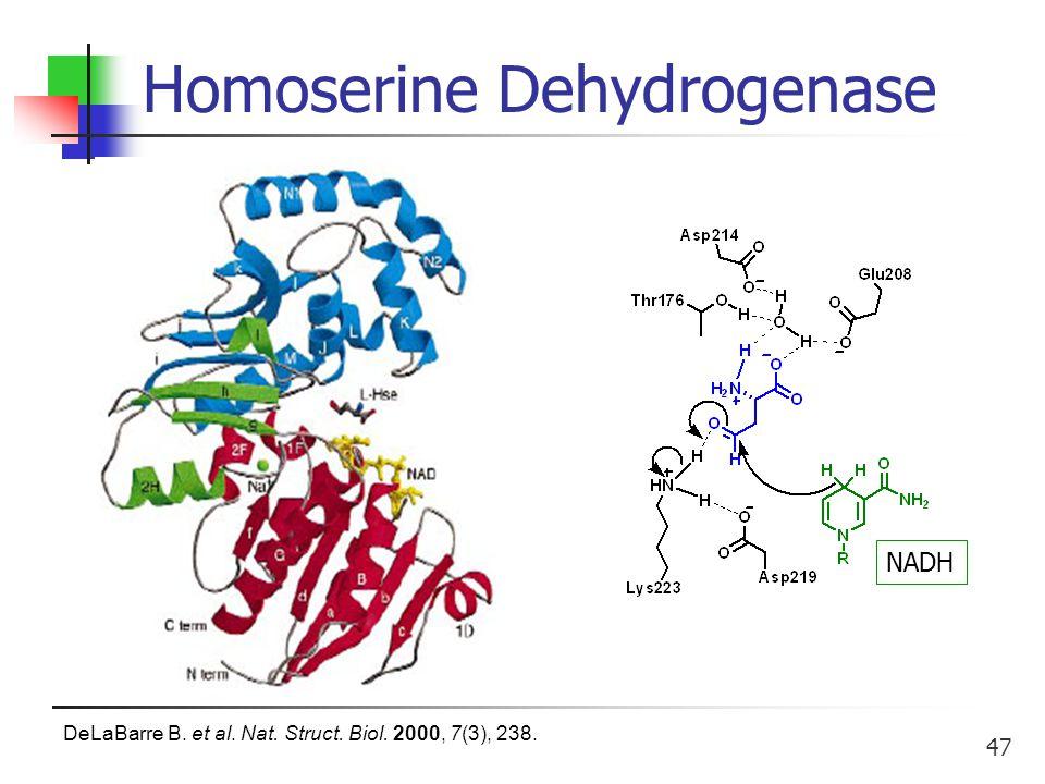 47 Homoserine Dehydrogenase NADH DeLaBarre B. et al. Nat. Struct. Biol. 2000, 7(3), 238.