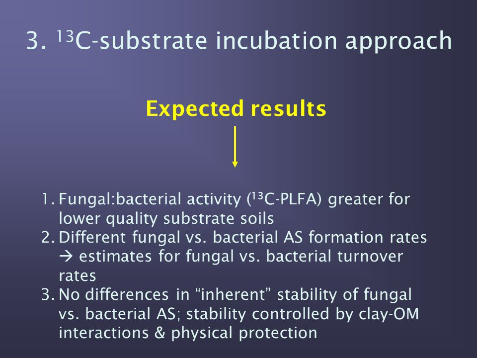 3. 13 C-substrate incubation approach Expected results 1.Fungal:bacterial activity ( 13 C-PLFA) greater for lower quality substrate soils 2.Different