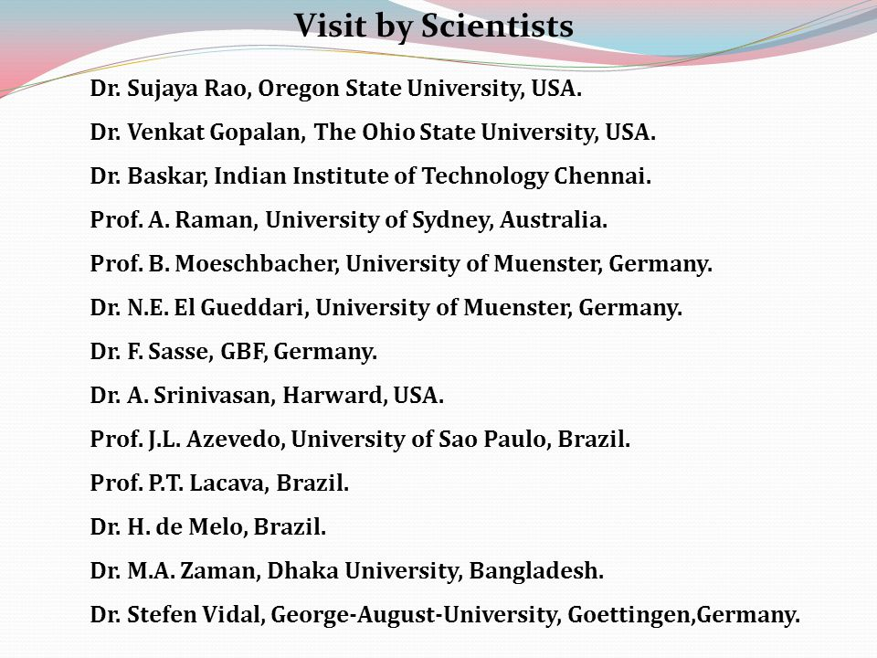 Dr. Sujaya Rao, Oregon State University, USA. Dr.
