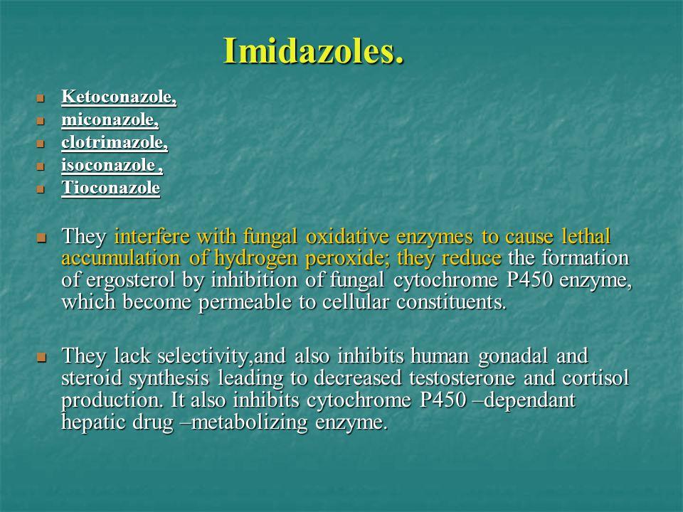 Imidazoles. Ketoconazole, Ketoconazole, miconazole, miconazole, clotrimazole, clotrimazole, isoconazole, isoconazole, Tioconazole Tioconazole They int