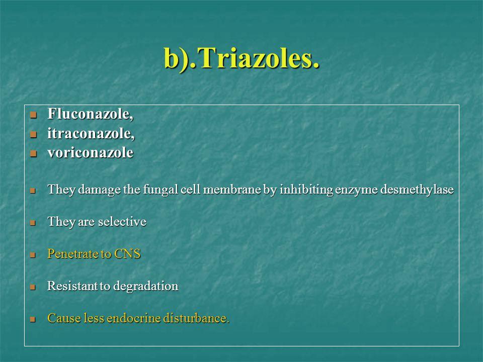 b).Triazoles. Fluconazole, Fluconazole, itraconazole, itraconazole, voriconazole voriconazole They damage the fungal cell membrane by inhibiting enzym
