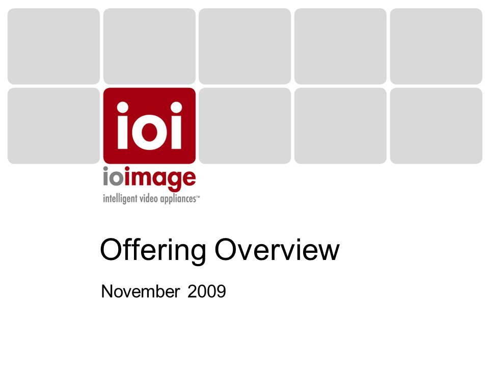 Offering Overview November 2009