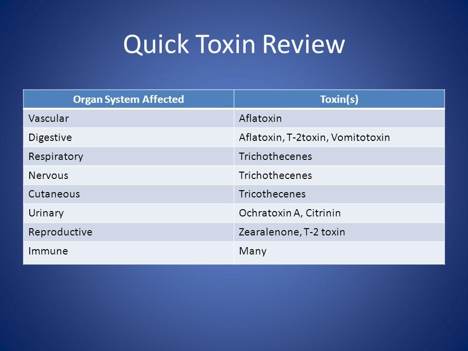 Quick Toxin Review Organ System AffectedToxin(s) VascularAflatoxin DigestiveAflatoxin, T-2toxin, Vomitotoxin RespiratoryTrichothecenes NervousTrichoth
