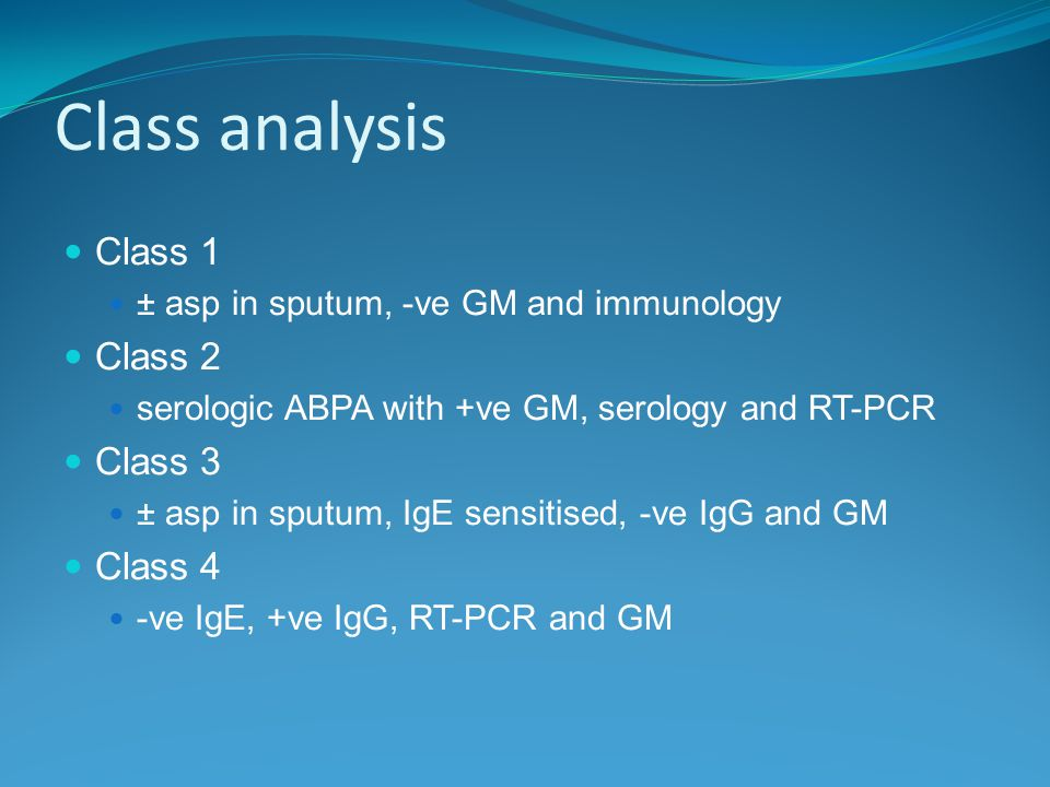 Class analysis Class 1 ± asp in sputum, -ve GM and immunology Class 2 serologic ABPA with +ve GM, serology and RT-PCR Class 3 ± asp in sputum, IgE sensitised, -ve IgG and GM Class 4 -ve IgE, +ve IgG, RT-PCR and GM