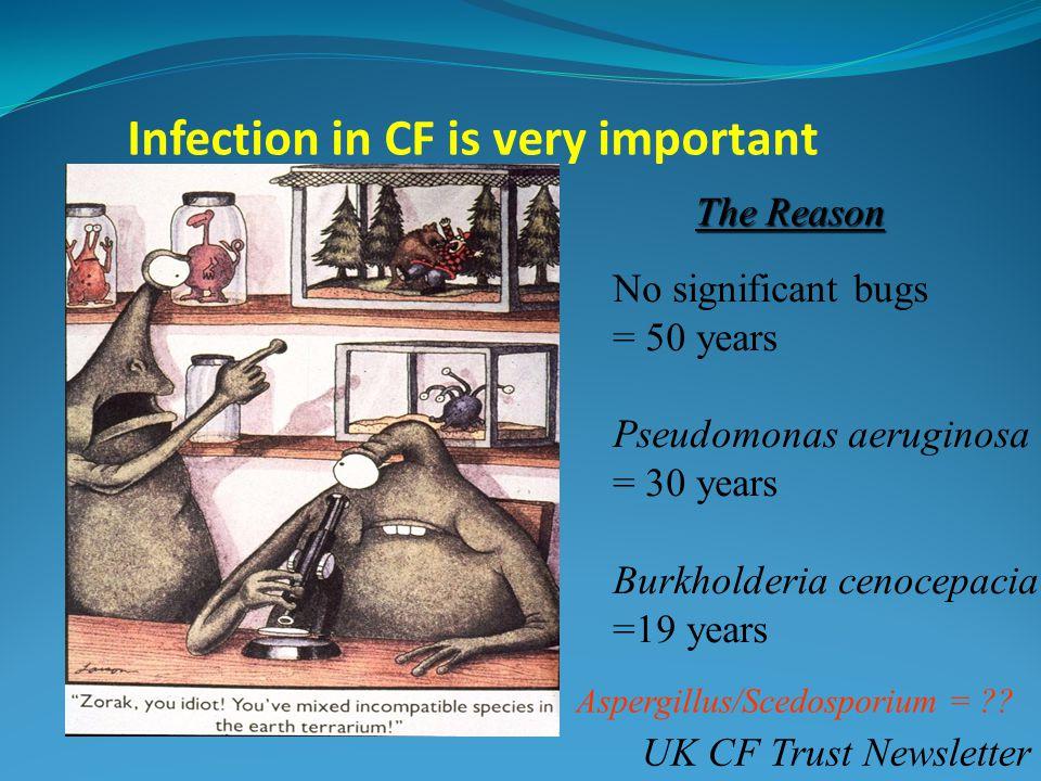 Infection in CF is very important No significant bugs = 50 years Pseudomonas aeruginosa = 30 years Burkholderia cenocepacia =19 years UK CF Trust Newsletter The Reason Aspergillus/Scedosporium =