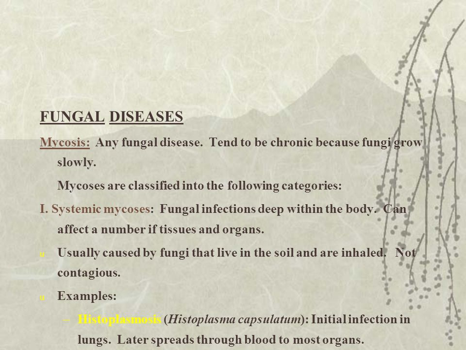 FUNGAL DISEASES Mycosis: Any fungal disease. Tend to be chronic because fungi grow slowly. Mycoses are classified into the following categories: I. Sy