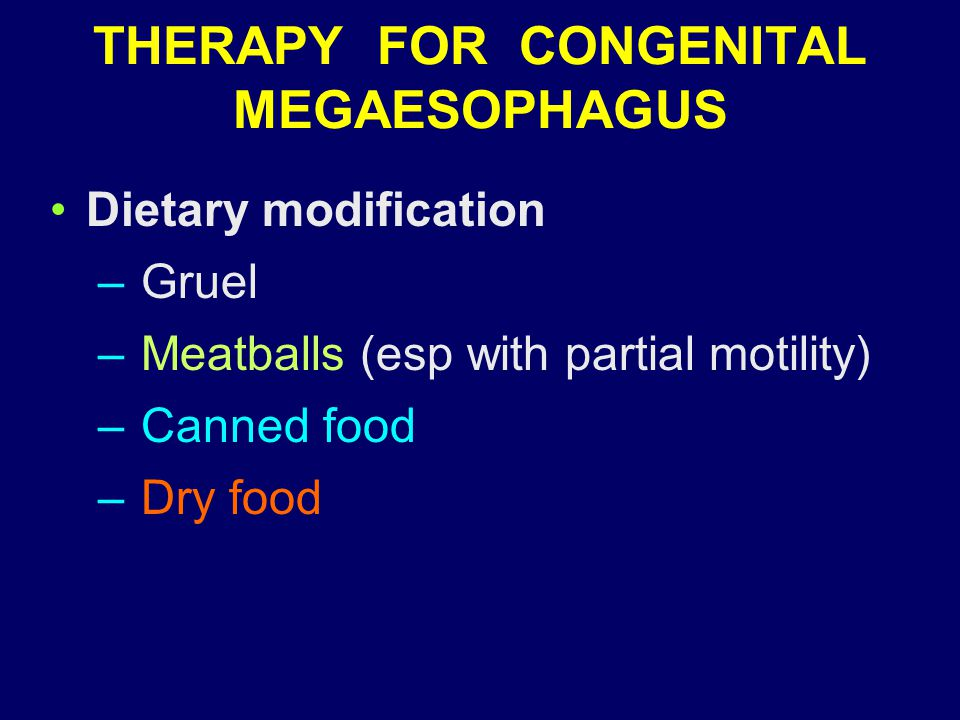 THERAPY FOR CONGENITAL MEGAESOPHAGUS Dietary modification – Gruel – Meatballs (esp with partial motility) – Canned food – Dry food