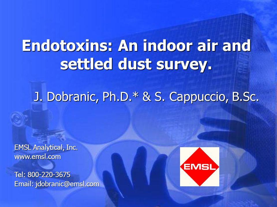 Results Endotoxin:Endotoxin: –Mouldy: 0.1-263.6 EU/mg dust –Non-Mouldy: 0.5-38.5 EU/mg dust Published range is 11-100 EU/mg dustPublished range is 11-100 EU/mg dust
