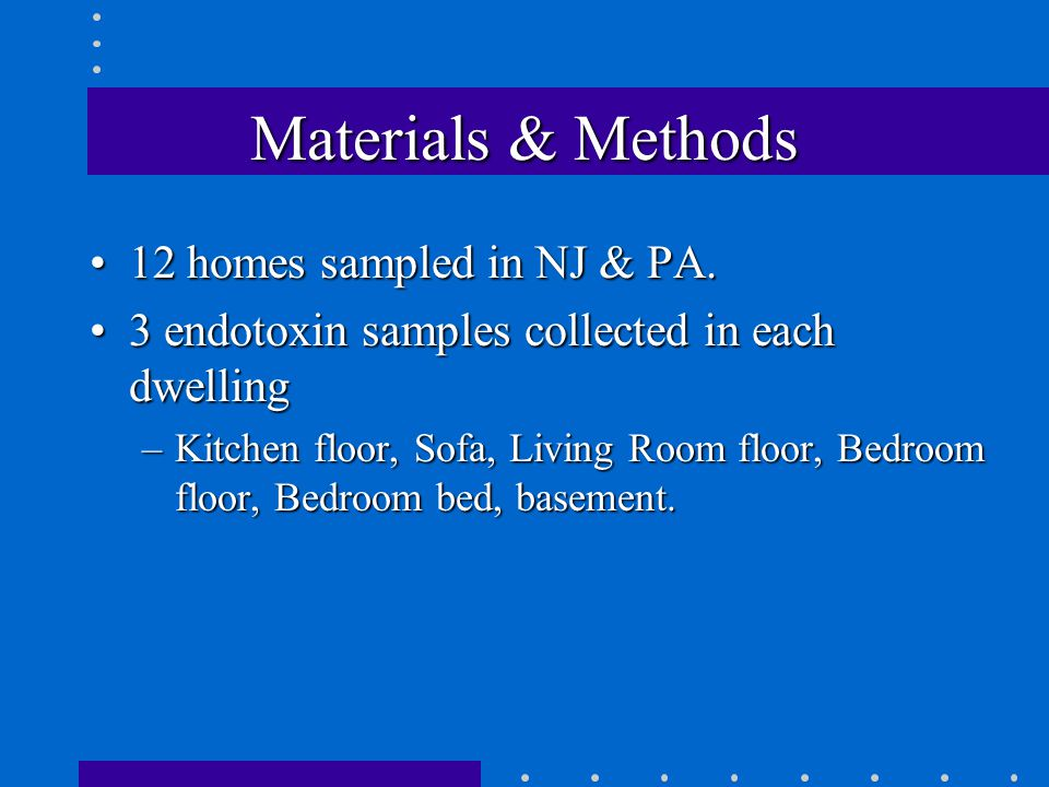 Materials & Methods 12 homes sampled in NJ & PA.12 homes sampled in NJ & PA.