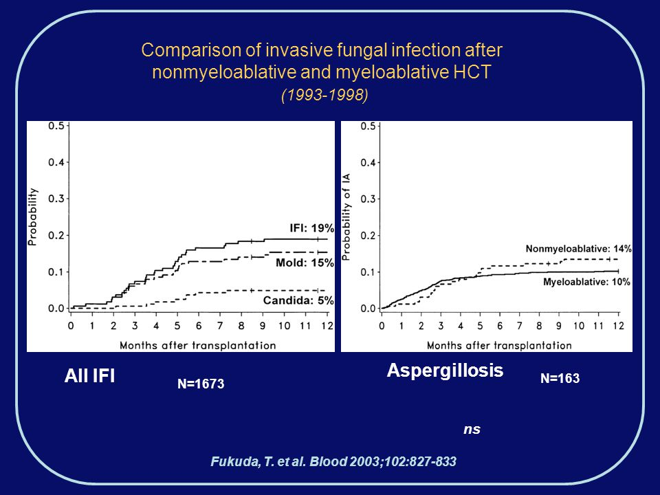 Comparison of invasive fungal infection after nonmyeloablative and myeloablative HCT (1993-1998) Fukuda, T.