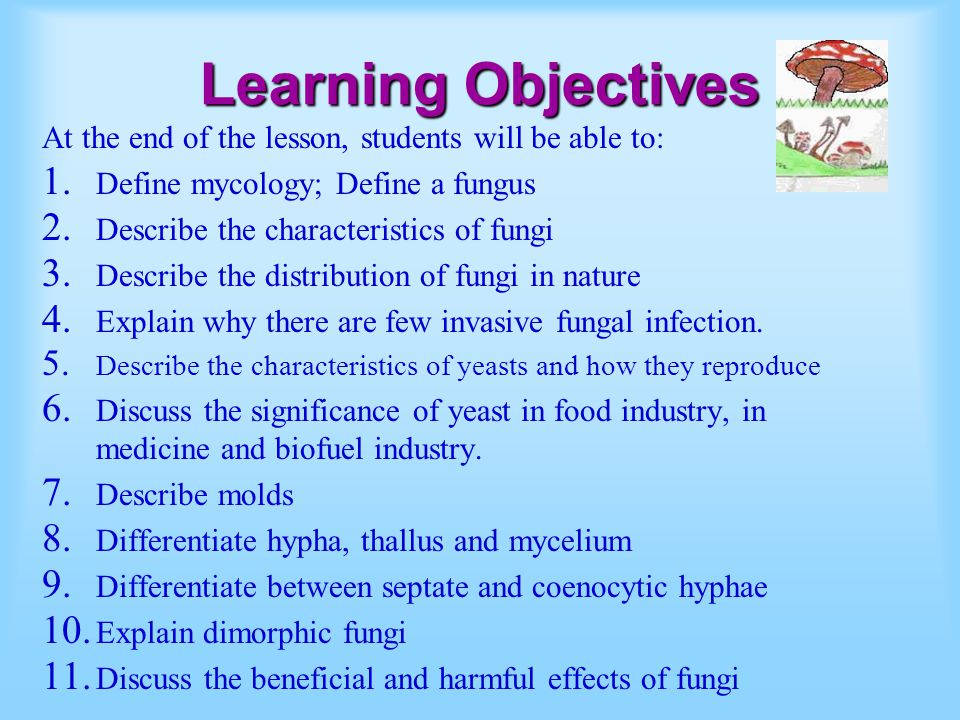 Learning Objectives At the end of the lesson, students will be able to: 1. Define mycology; Define a fungus 2. Describe the characteristics of fungi 3